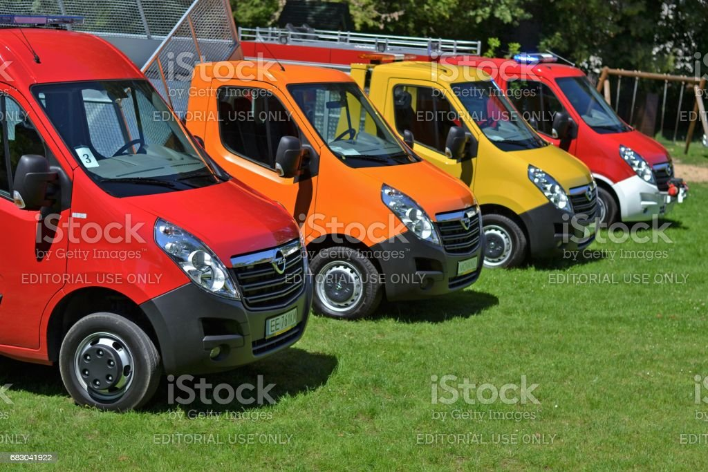 Multi-colored modern commercial vehicles foto de stock royalty-free