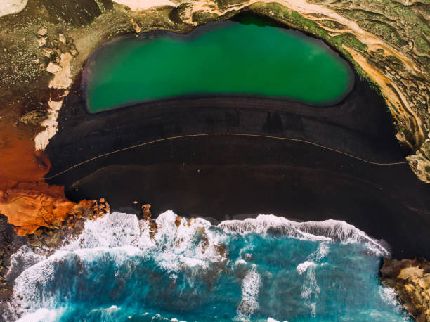 Multicolored natural landscape with bird's eye view, Lanzarote stock photo