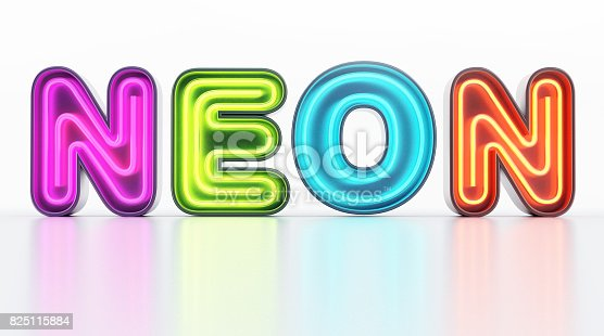 istock Multi-colored neon letters on white shiny background 825115884