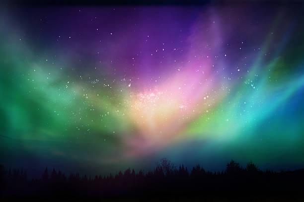 マルチカラーの光(Aurora borealis )カナダの森 ストックフォト