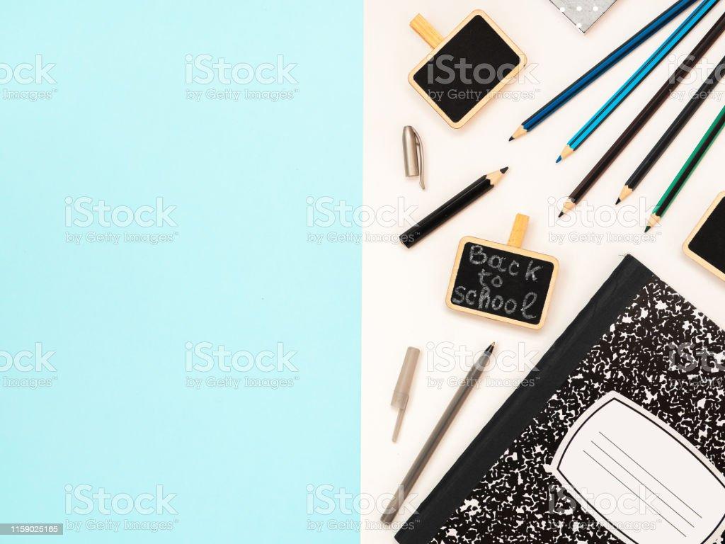 https www istockphoto com photo multicolored notebook chalk blackboard globe paper clips eraser pen and pencil gm1159025165 316788942