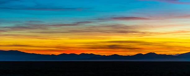 Multicolored Panoramic Desert Mountain Sunset stock photo