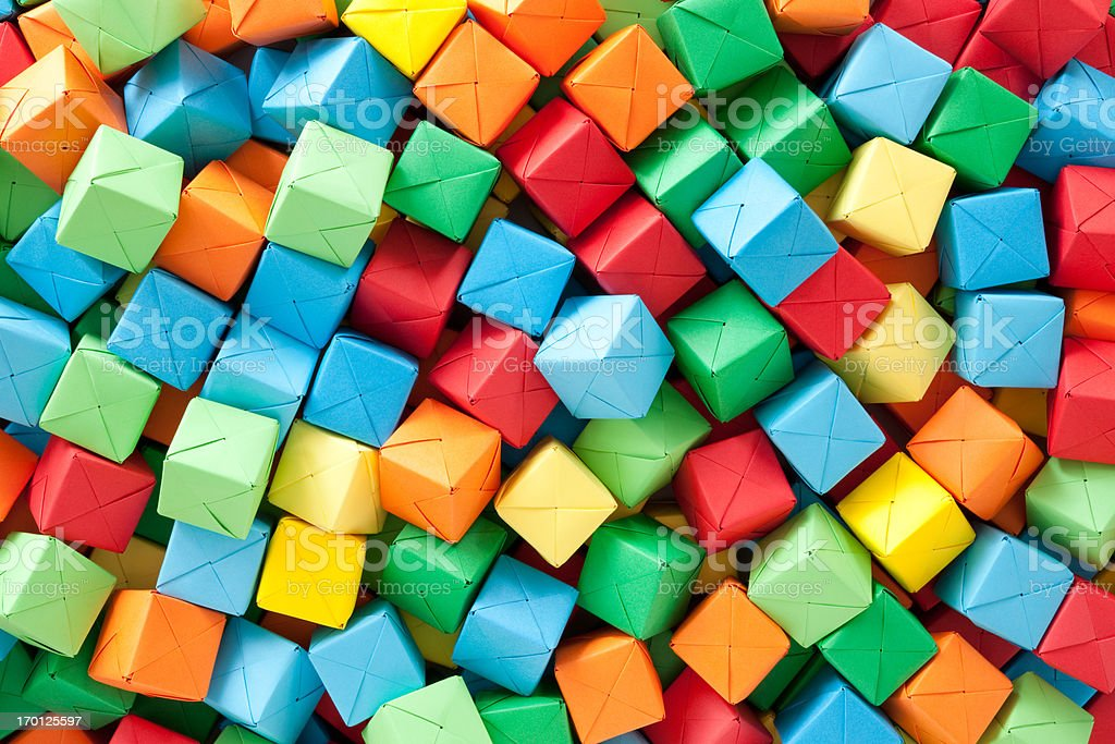 Multicolored paper cubes stock photo