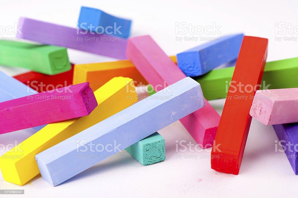 Multicolored pastel chalks stock photo