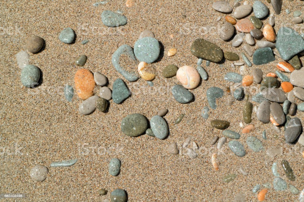 Multicolored pebble on wet sand royalty-free stock photo