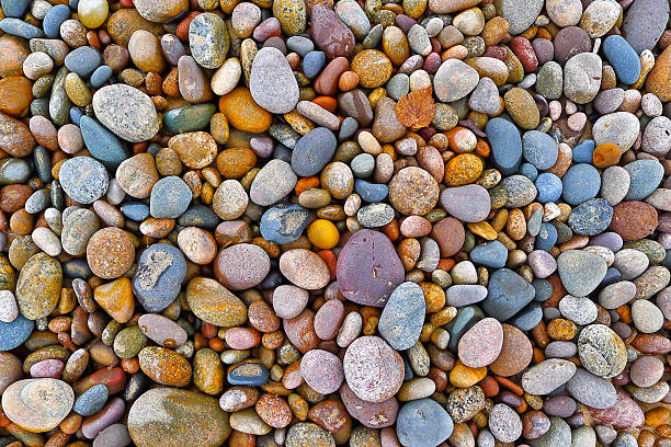 Multi-Colored Pebbles and Rocks stock photo