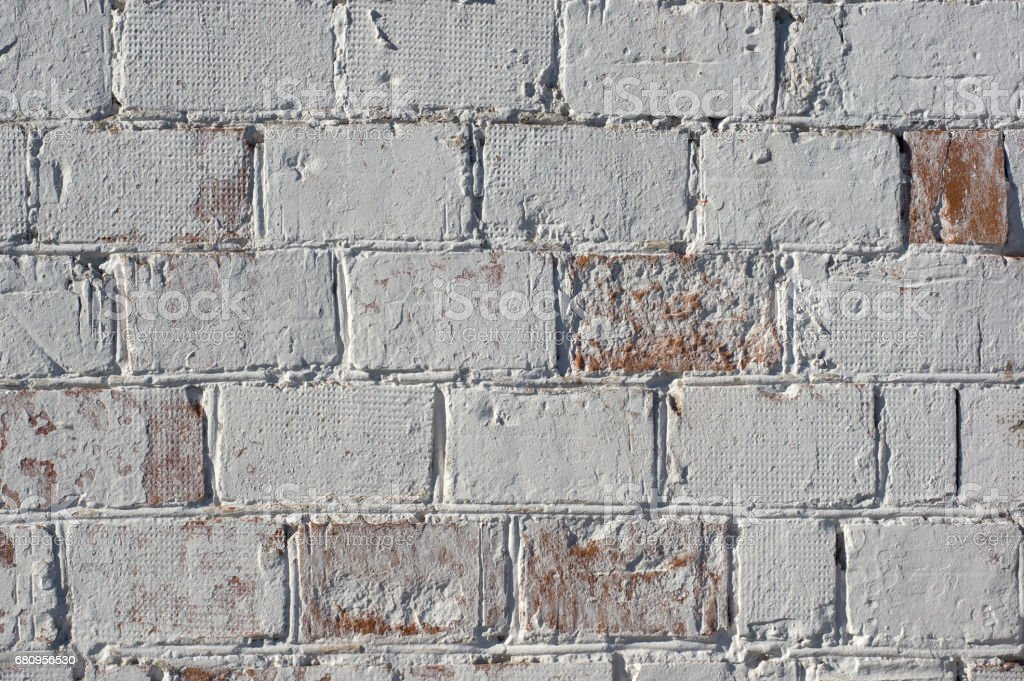Multicolored peeling wall texture and background. Painted brickwork. royalty-free stock photo
