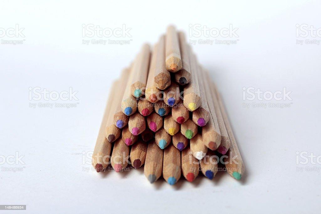 Multicolored pencils isolated stock photo