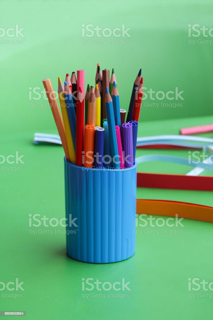 Multicolored pencils on the table. Education and creativity ロイヤリティフリーストックフォト