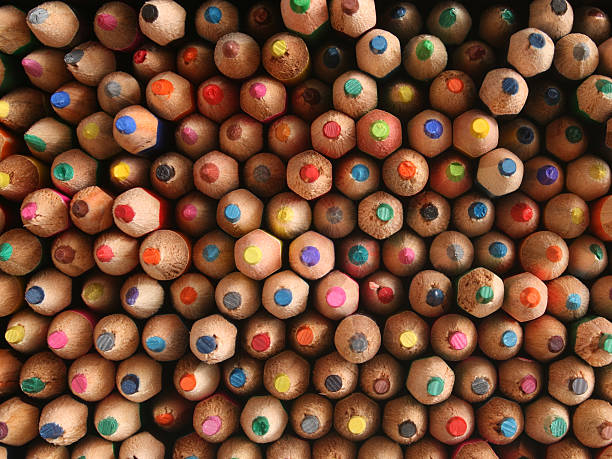 Multicolored pencils Top view of lots of multicolored pencils abundance stock pictures, royalty-free photos & images