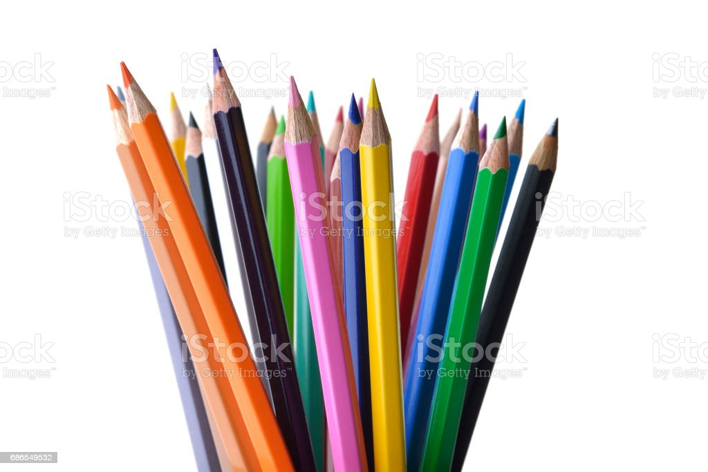 Multicolored Pencils Shot in Studio on White Background zbiór zdjęć royalty-free