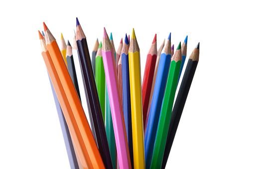 Multicolored Pencils Shot in Studio on White Background