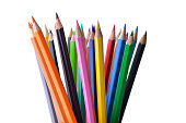 High resolution image of multi colored pencils on white background shot in studio