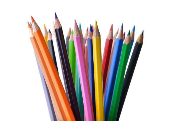 multicolored pencils shot in studio on white background - coloured pencil stock photos and pictures