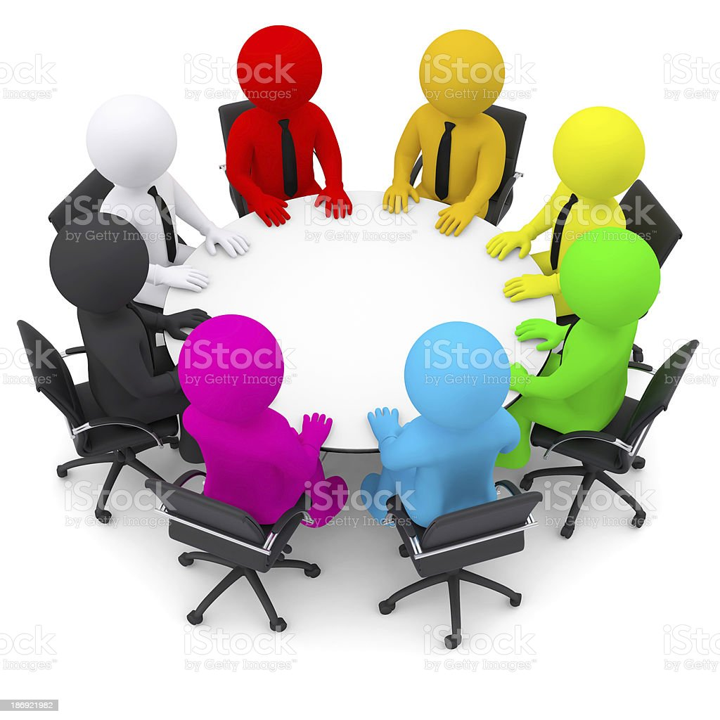 Multicolored people sitting at a round table royalty-free stock photo