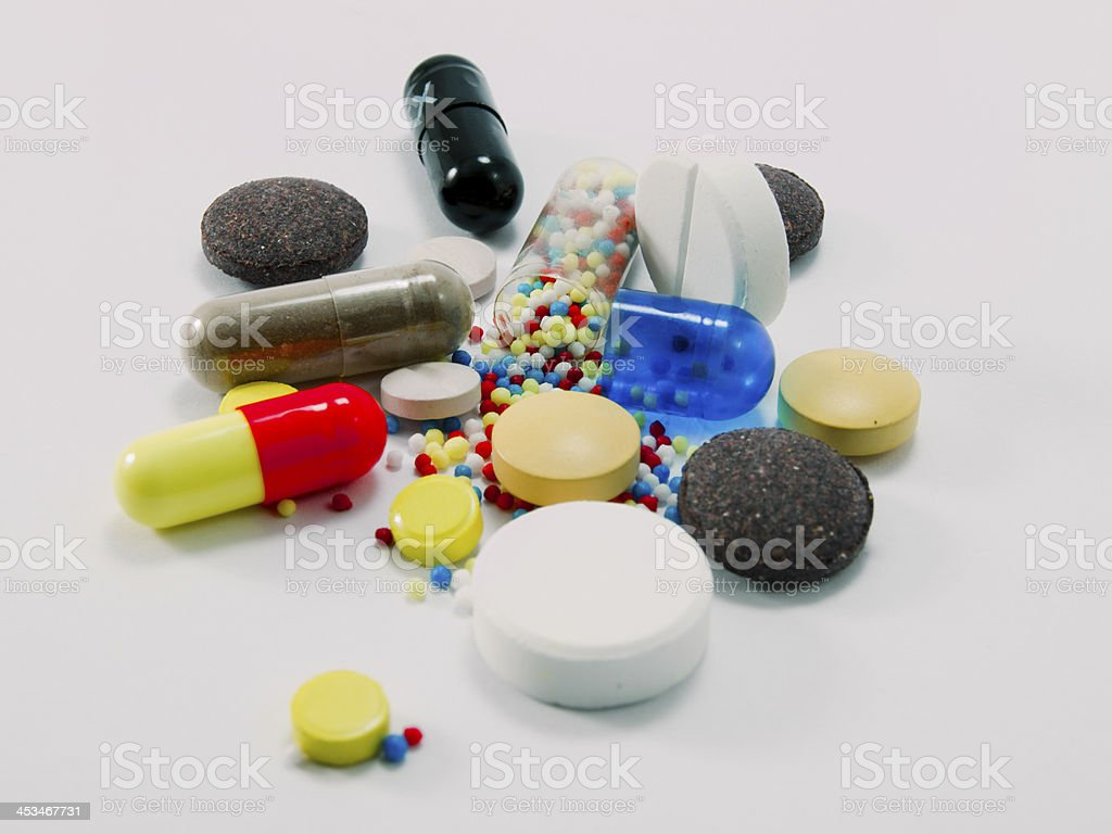 Multi-colored pills royalty-free stock photo