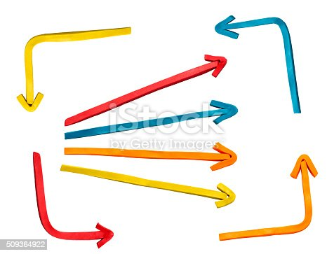 1144228424 istock photo Multicolored plasticine arrows on white background 509364922
