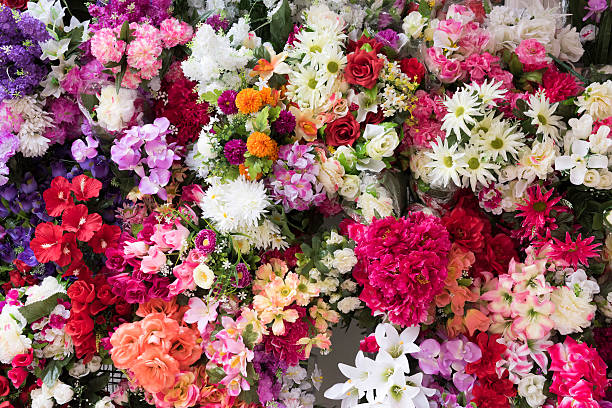 Multicolored plethora of flowers at the flower shop stock photo