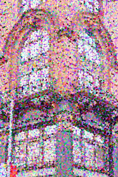 Multicolored pointillized abstract of vintage architectural exterior stock photo