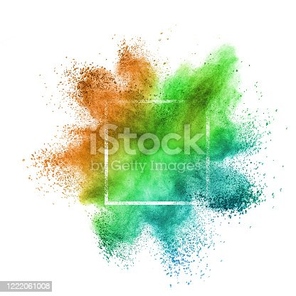 874001974 istock photo Multicolored powder explosion in frame on a white background. 1222061008