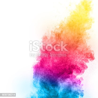918139336istockphoto Multicolored powder explosion isolated on white background. Color dust splashing. 929736214
