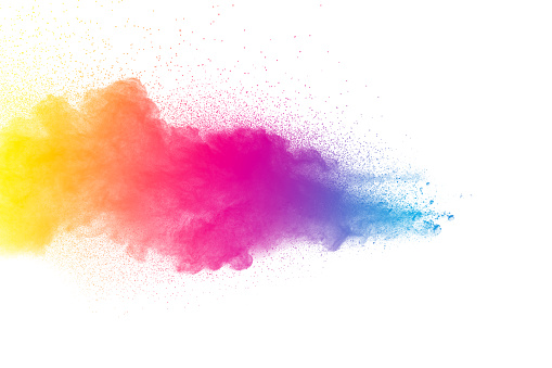 istock Multicolored powder explosion isolated on white background. Colored dust splash cloud  on white background. Launched colorful small particles on white background. 905594434
