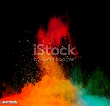 istock A multicolored powder explosion on a black background 469759280