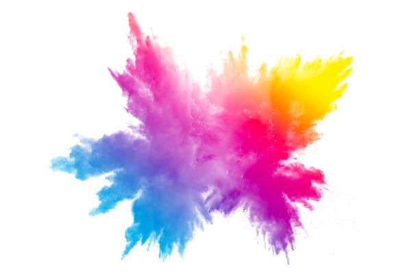 흰색 바탕에 여러 가지 빛깔된 분말 폭발입니다. 색상 배경에 먼지 시작 구름입니다. 배경에 화려한 입자를 시작 했다. - 색상 이미지 뉴스 사진 이미지