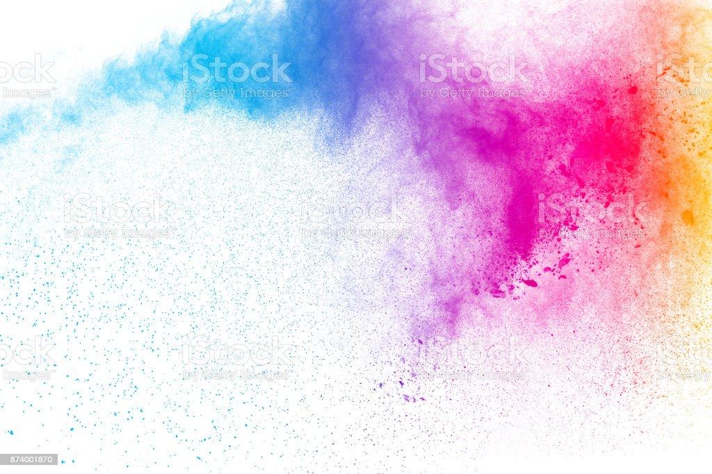 Bunte Pulver-Explosion auf weißem Hintergrund. Farbige Splash Pulverwolke isoliert auf weißem Hintergrund. - Lizenzfrei Abstrakt Stock-Foto