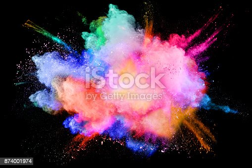 istock Multicolored powder splash cloud isolated on black background 874001974