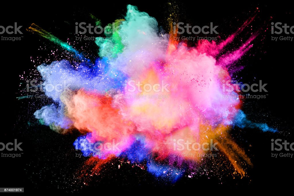 Multicolored powder splash cloud isolated on black background stock photo
