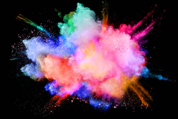 multicolored powder splash cloud isolated on black background - colore descrittivo foto e immagini stock