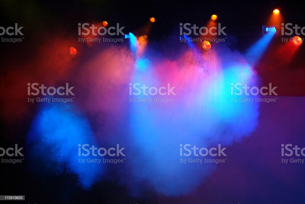 Multicolored Red, Blue and Pink Stage Lights with Fog stock photo