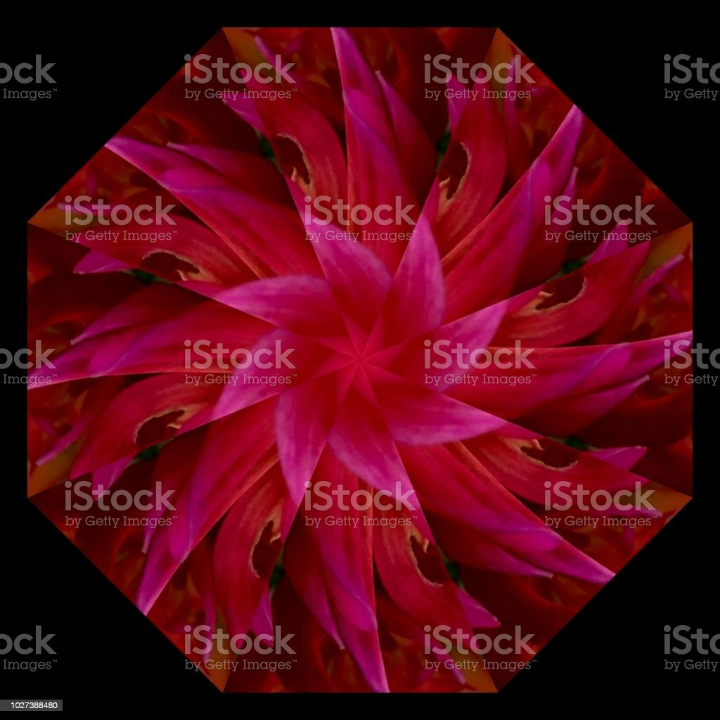 Multicolored, red, pink and brown mandala with geometric pattern. stock photo