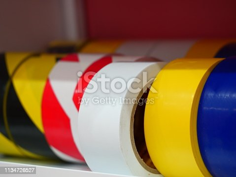 805500886 istock photo multi-colored rolls of tape on shelf 1134726527