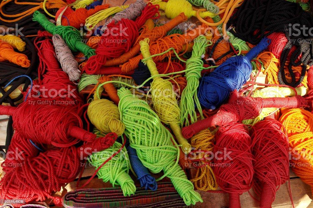 Multi-colored ropes stock photo