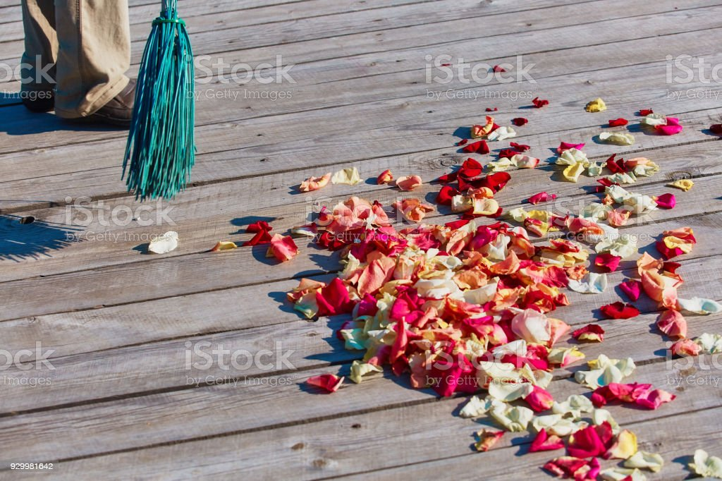 Multicolored Rose Petals Are Swept With A Broom After The Wedding