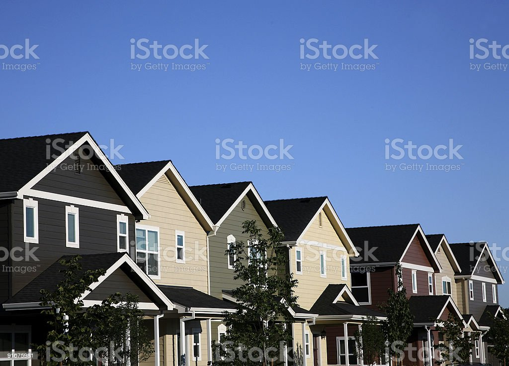 Multi-colored Row of Houses stock photo