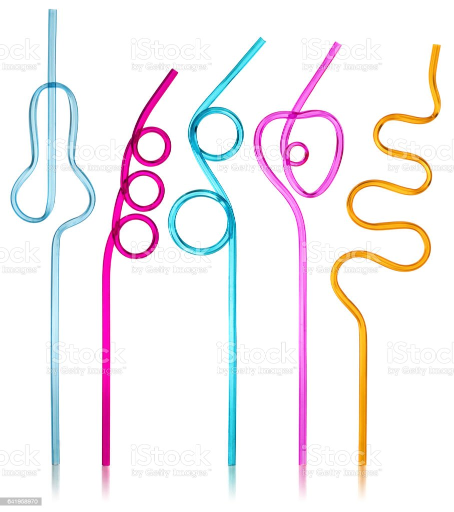 Multi-colored semi-transparent in many shapes straw. Drinking straws in the colors blue, purple, pink, yellow on a white background with slight reflection. stock photo