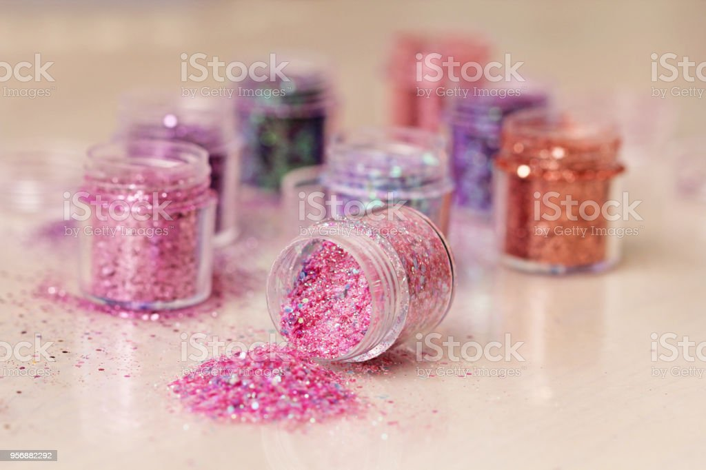 Multi-colored Sequins for the design of nails in a box. Glitter in...