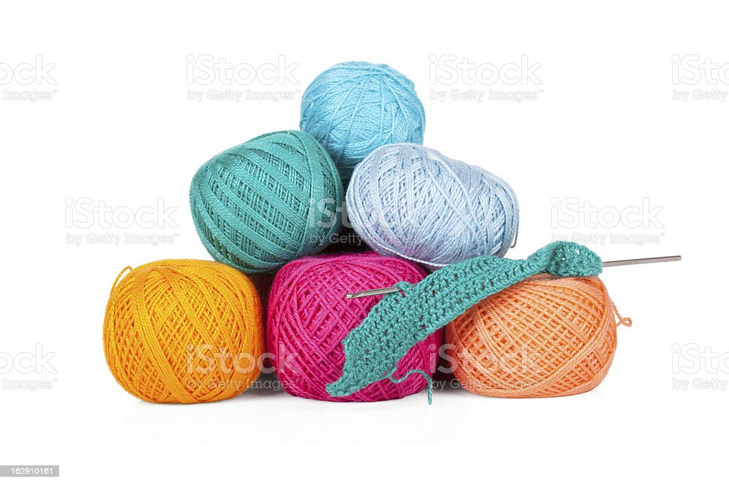 Multicolored set of yarn for knitting on white royalty-free stock photo