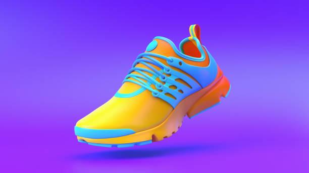wielokolorowa obuwie na tle gradientowym, renderowanie 3d. - but sportowy zdjęcia i obrazy z banku zdjęć