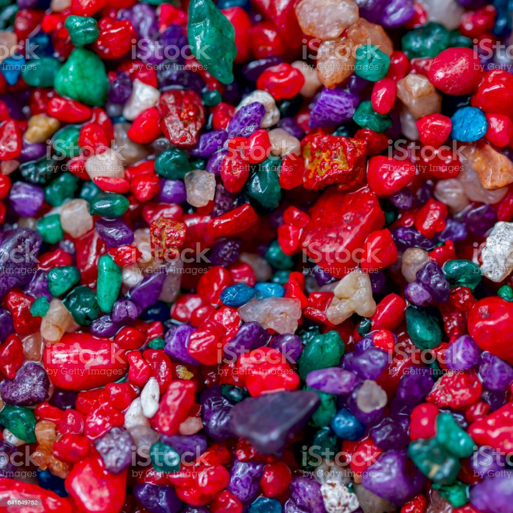 Multi-colored small colorful stones,minerals close-up as very nice natural background, backdrop and design, square stock photo