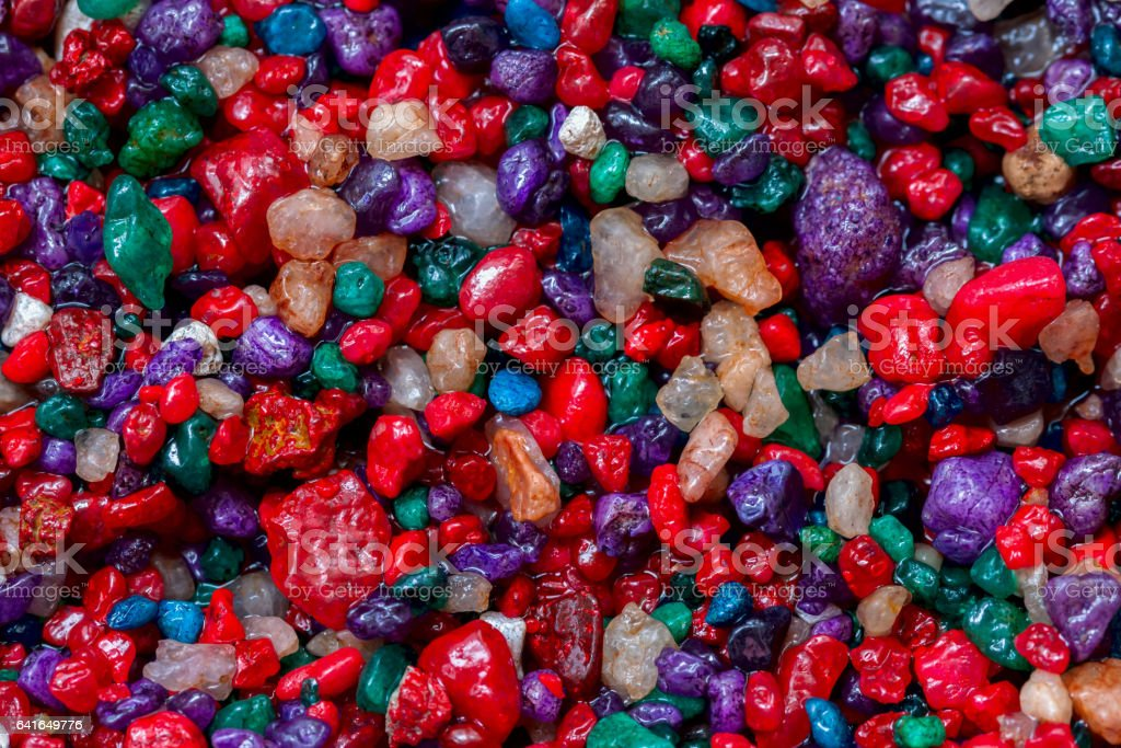 Multi-colored small colorful stones,minerals close-up as very nice natural background, abstract texture, pattern, wallpaper or banner design stock photo