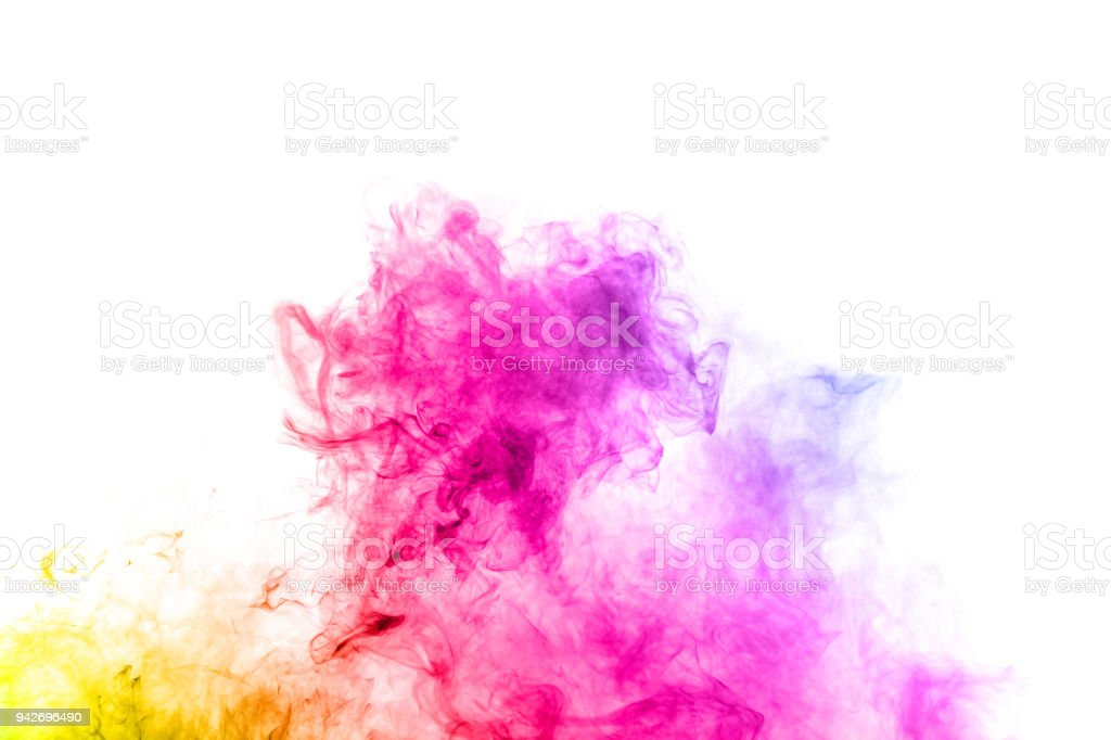 Multicolored smoke on white background. Abstract bright colorful smoke on background. Color   smoke clouds. stock photo
