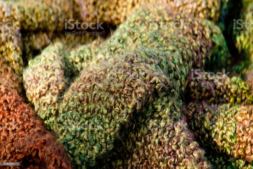 Multicolored Soft Handwoven Scarves, Coarse Weave, Closeup Image stock photo