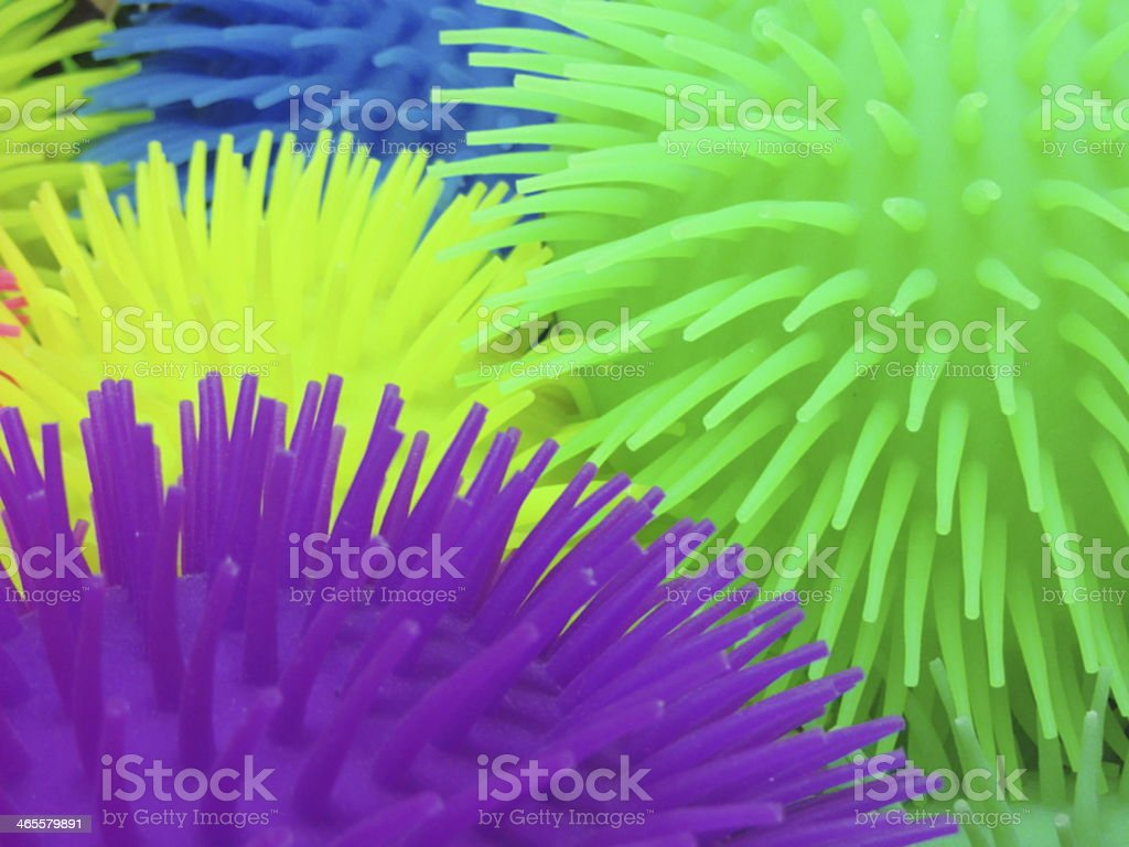 Multi-colored spiked balls stock photo