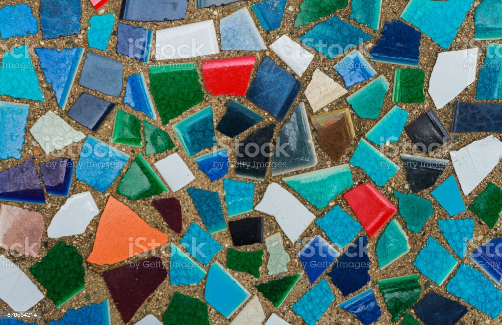 Multi-colored square mosaics close-up. stock photo
