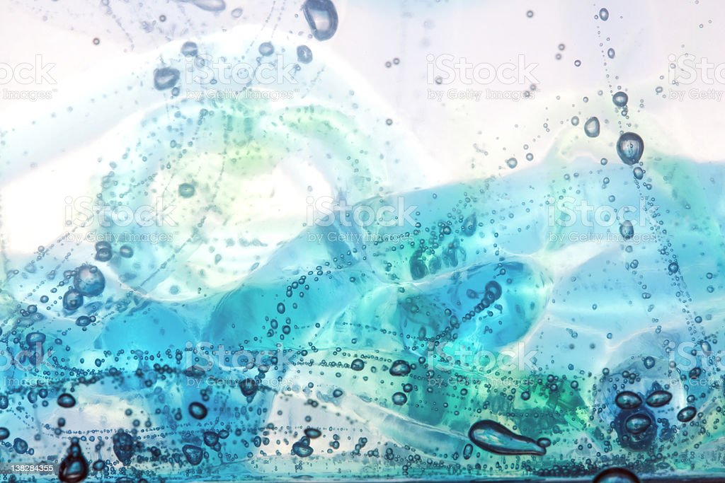 Multi-Colored Streams with Air Bubbles stock photo