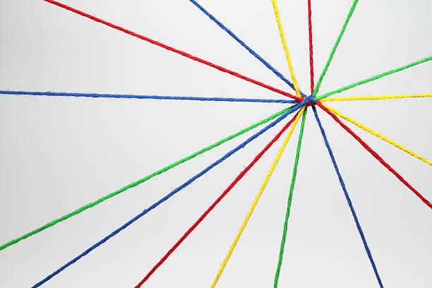 multicolored strings tied together - blue yellow band bildbanksfoton och bilder